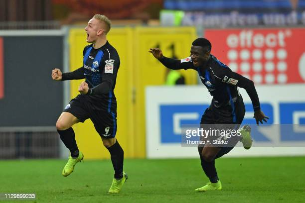 Kai Proeger and Jamilu Collins of Paderborn celebrate their teams second goal during the Second Bundesliga match between SC Paderborn 07 and 1 FC...