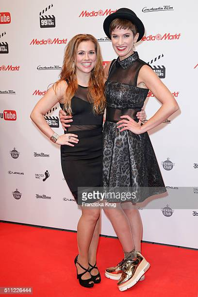 Kai Sarah Tkotsch and Isabell Horn attend the 99FireFilmAward 2016 at Admiralspalast on February 18 2016 in Berlin Germany