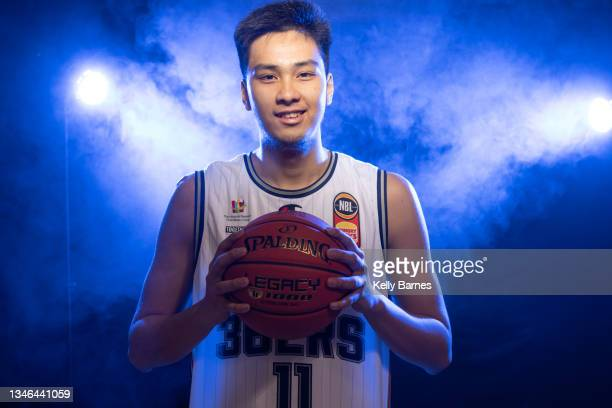 Kai Sotto poses during a portrait session after joining the Adelaide 36ers for the upcoming NBL season, on October 13, 2021 in Adelaide, Australia.