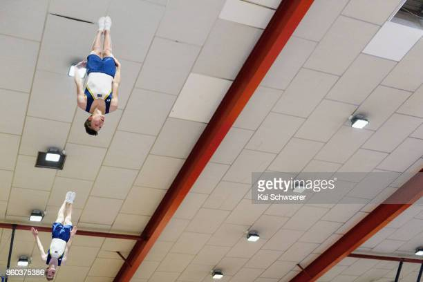 Kai Torsvik and Matthew French of Australia competing in the Junior Men's Synchro Trampoline Finals during the NZ Trampoline Gymnastics Championships...