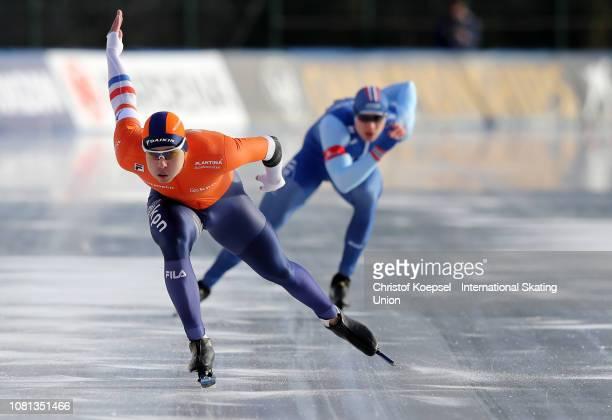 Kai Verbij, European Sprint Champion of the Netherlands skates in front of Havard Holmefjord Lorentzen of Norway second winner of European Sprint...