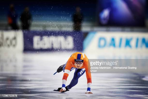 Kai Verbij of Netherlands crashes in the Men's 500m Sprint 1st during the ISU European Speed Skating Championships at Thialf on January 16, 2021 in...