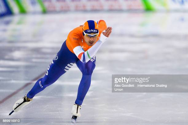 Kai Verbij of the Netherlands competes in the men's 1000 meter final during day 3 of the ISU World Cup Speed Skating event on December 10 2017 in...