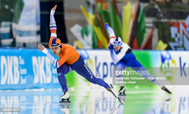 Kai Verbij of the Netherlands competes in the Men's 500m 2nd race during the ISU World Cup Speed Skating Final Day 2 at Speed Skating Arena on March...