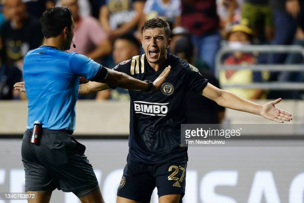 Kai Wagner of Philadelphia Union reacts to a call during the semifinal second leg match against Club America during the CONCACAF Champions League...