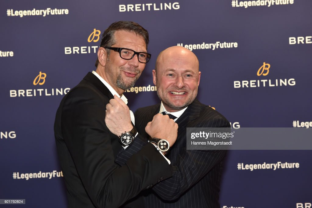 Kai Wiesinger and Breitling-CEO Georges Kern during the Breitling Roadshow '#LEGENDARYFUTURE' Navitimer 8 at Freiheizhalle on February 20, 2018 in Munich, Germany.