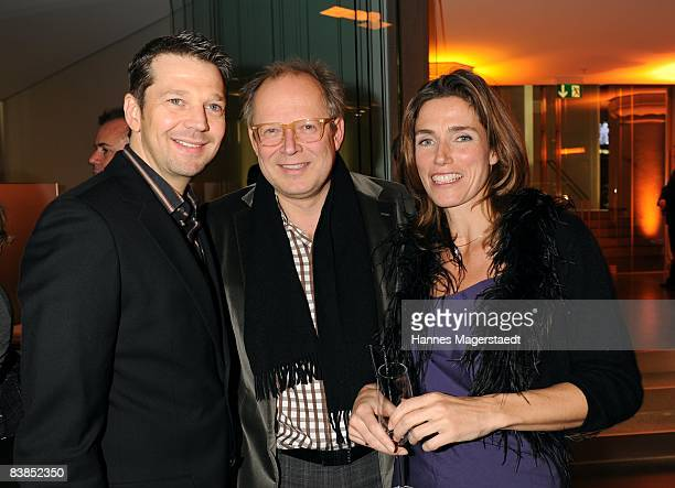 Kai Wiesinger, Axel Mielberg, Julia Bremermann attend the ARD Dinner at the Hypo Forum on November 28, 2008 in Munich, Germany.