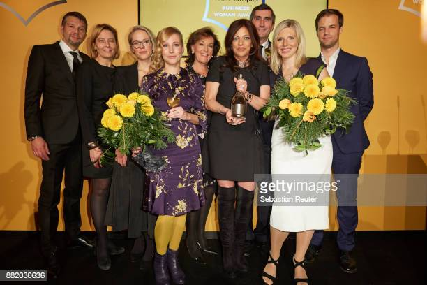 Kai Wiesinger two guests Fraenzi Kuehne a guest Alice Brauner JeanMarc Gallot LeaSophie Cramer and a guest attend the Veuve Clicquot Business Woman...