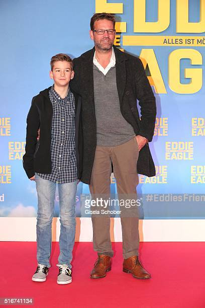 Kai Woersching and his son Luca during the 'Eddie the Eagle' premiere at Mathaeser Filmpalast on March 20 2016 in Munich Germany