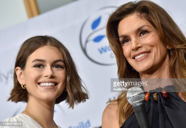 Kaia Gerber and Cindy Crawford attend the Women's Guild Cedars-Sinai Annual Luncheon at Regent Beverly Wilshire Hotel on November 06, 2019 in Beverly...