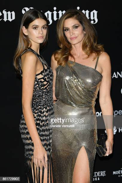 Kaia Gerber and Cindy Crawford attend theVogue Italia 'The New Beginning' Party during Milan Fashion Week Spring/Summer 2018 on September 22 2017 in...