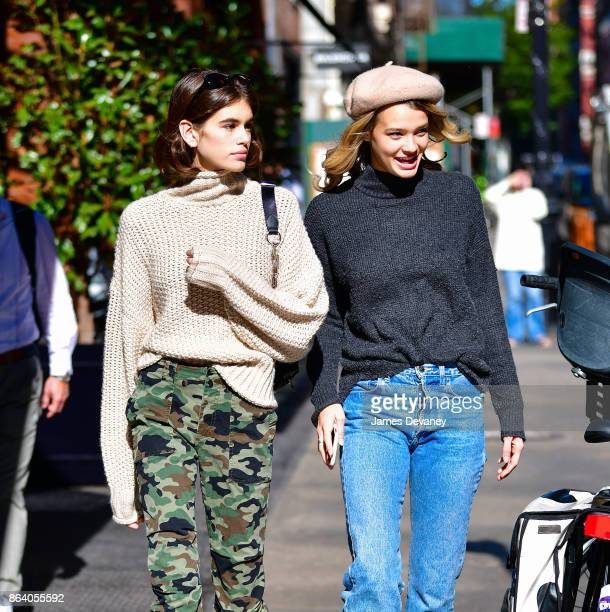 Kaia Gerber and companion seen on the streets of Manhattan on October 20 2017 in New York City