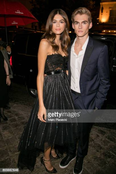 Kaia Gerber and her brother Presley Gerber attend 'Her Time' Omega Outside Arrivals as part of the Paris Fashion Week Womenswear Spring/Summer 2018...