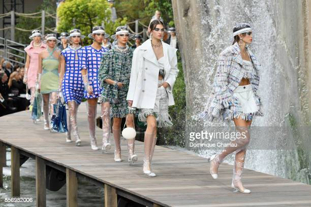 Kaia Gerber and models walk the runway during the Chanel show as part of the Paris Fashion Week Womenswear Spring/Summer 2018 on October 3 2017 in...