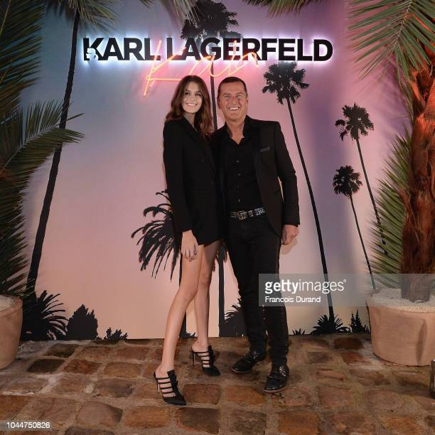 Kaia Gerber and Pier Paolo Righi celebrate the launch of the Karl x Kaia collaboration capsule collection on October 2 2018 in Paris France