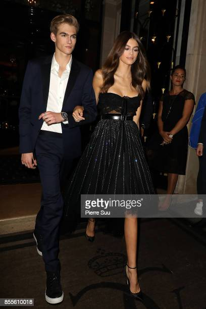 Kaia Gerber and Presley Gerber leave their hotel on September 29 2017 in Paris France