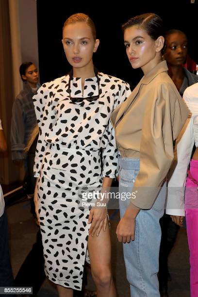 Kaia Gerber and Romee Strijd are seen backstage at the Off/White show as part of the Paris Fashion Week Womenswear Spring/Summer 2018 on September 28...