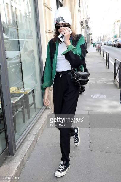 Kaia Gerber arrives at a photo studio on April 6 2018 in Paris France