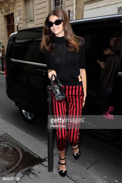 Kaia Gerber arrives at a shop on September 26 2017 in Paris France