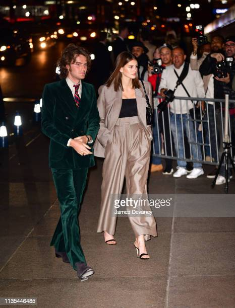 Kaia Gerber arrives to wedding reception for Char Defrancesco and Marc Jacobs at The Grill and The Pool on April 6 2019 in New York City