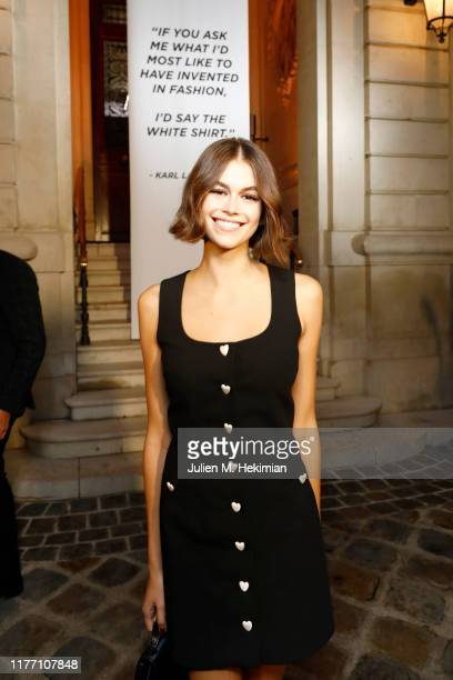 "Kaia Gerber attends the ""Tribute to the Karl Lagerfeld: The White Shirt Project"" exhibition as part of Paris Fashion Week in Paris on September 25,..."
