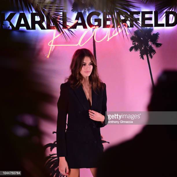 Kaia Gerber celebrates the launch of the Karl x Kaia collaboration capsule collection on October 2 2018 in Paris France