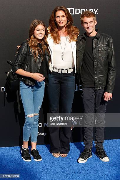 Kaia Gerber Cindy Crawford and Presley Gerber attend Disney's 'Tomorrowland' Los Angeles Premiere at AMC Downtown Disney 12 Theater on May 9 2015 in...