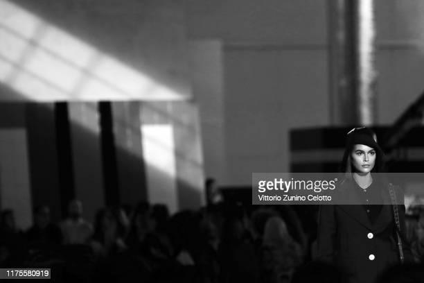 Kaia Gerber fashion detail walks the runway at the Prada show during the Milan Fashion Week Spring/Summer 2020 on September 18 2019 in Milan Italy
