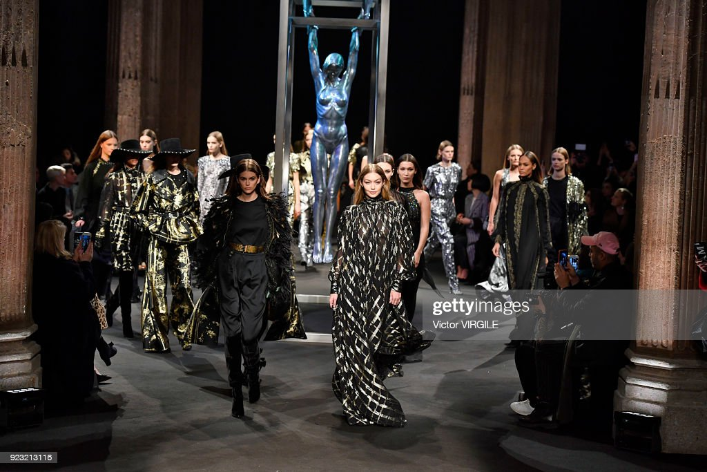 Kaia Gerber, Gigi Hadid and models walk the runway at the Alberta Ferretti Ready to Wear Fall/Winter 2018-2019 fashion show during Milan Fashion Week Fall/Winter 2018/19 on February 21, 2018 in Milan, Italy.