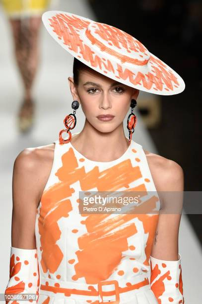 Kaia Gerber hat detail walks the runway at the Moschino show during Milan Fashion Week Spring/Summer 2019 on September 20 2018 in Milan Italy