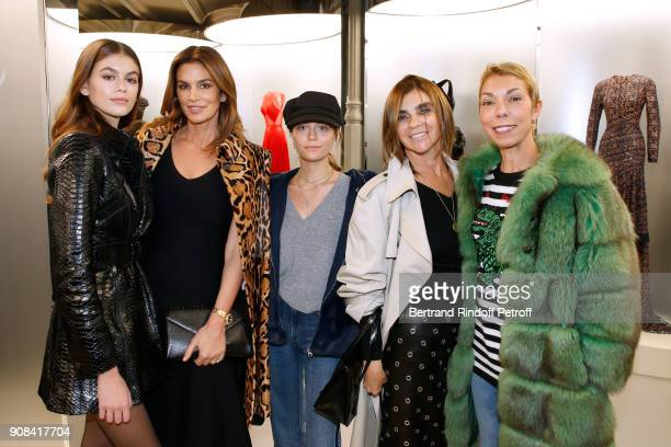 Kaia Gerber her mother Cindy Crawford Heloise Agostinelli Carine Roitfeld and mother of Heloise Mathilde Favier attend the Azzedine Alaia Je Suis...