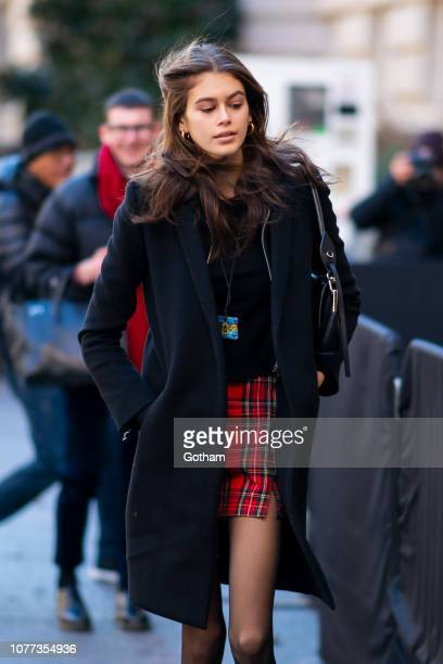 Kaia Gerber is seen arriving for the Chanel PreFall 2019 Collection runway show at the Metropolitan Museum of Art in the Upper East Side on December...