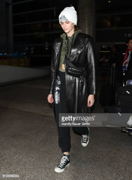 Kaia Gerber is seen at LAX on January 25 2018 in Los Angeles California