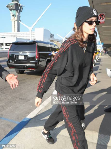 Kaia Gerber is seen at 'Los Angeles International Airport' on May 23 2018 in Los Angeles California
