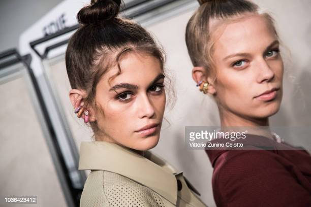 Kaia Gerber is seen backstage ahead of the Fendi show during Milan Fashion Week Spring/Summer 2019 on September 20, 2018 in Milan, Italy.