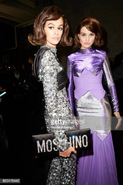Kaia Gerber is seen backstage ahead of the Moschino show during Milan Fashion Week Fall/Winter 2018/19 on February 21 2018 in Milan Italy