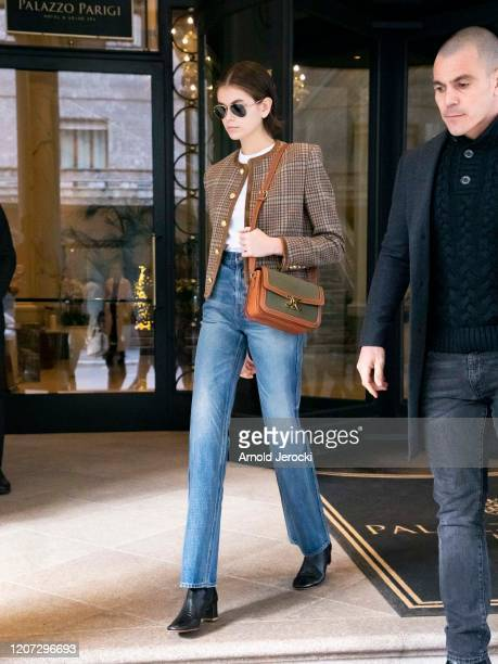 Kaia Gerber is seen during Milan Fashion Week Fall/Winter 20202021 on February 19 2020 in Milan Italy