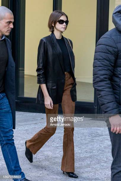 Kaia Gerber is seen during Milan Fashion Week Fall/Winter 20202021 on February 21 2020 in Milan Italy