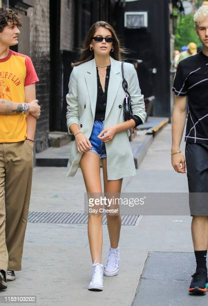 Kaia Gerber is seen in SoHo on June 01 2019 in New York City