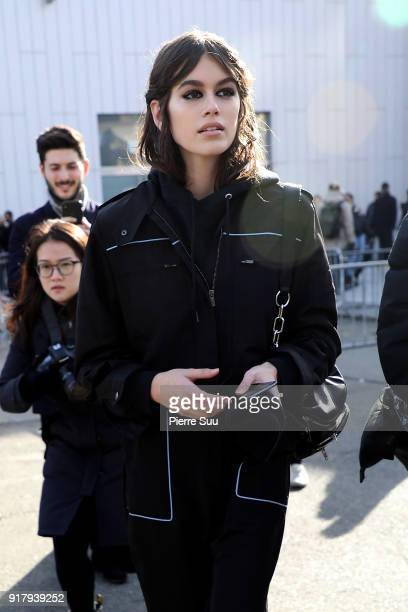 Kaia Gerber is seen leaving the 'Coach' show during the New York Fashion Week on February 13 2018 in New York City