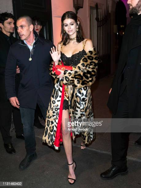 Kaia Gerber is seen leaving the Versace dinner on Day 3 Milan Fashion Week Autumn/Winter 2019/20 on February 22, 2019 in Milan, Italy.