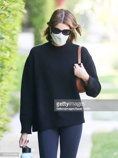 Kaia Gerber is seen on April 16, 2021 in Los Angeles, California.