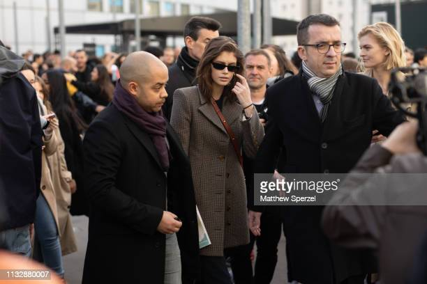 Kaia Gerber is seen on the street attending CHLOE during Paris Fashion Week AW19 wearing CHLOE on February 28 2019 in Paris France