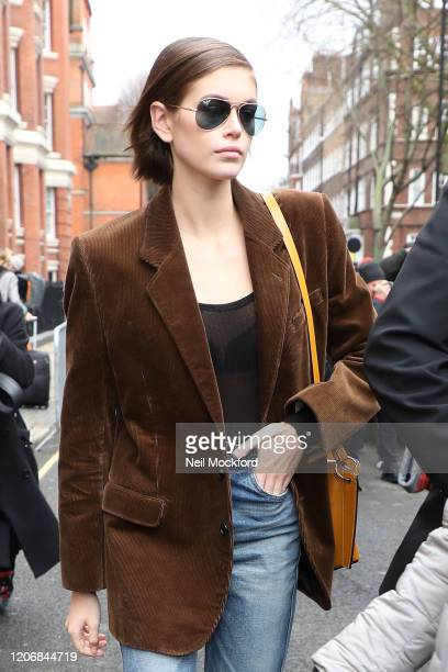 Kaia Gerber leaves JW Anderson at Yeomanry House during LFW February 2020 on February 17 2020 in London England