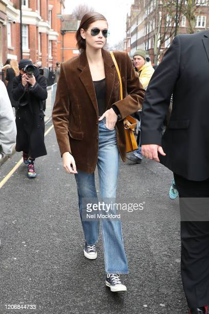Kaia Gerber leaves JW Anderson at Yeomanry House during LFW February 2020 on February 17, 2020 in London, England.