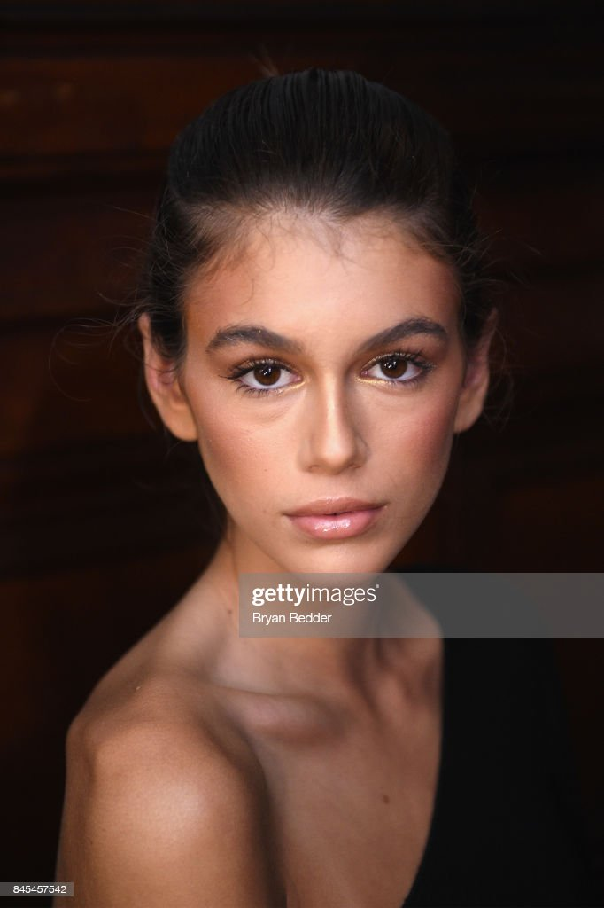 Kaia Gerber poses backstage at the FENTY PUMA by Rihanna Spring/Summer 2018 Collection at Park Avenue Armory on September 10, 2017 in New York City.