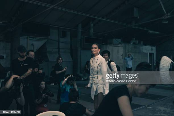 Kaia Gerber poses backstage before the OffWhite show as part of the Paris Fashion Week Womenswear Spring/Summer 2019 on September 27 2018 in Paris...