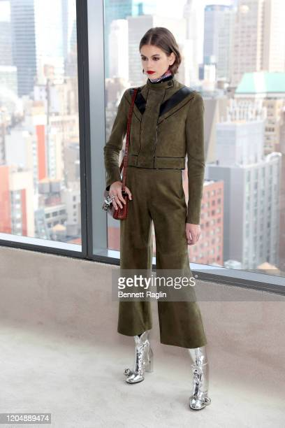 Kaia Gerber poses backstage for the Longchamp fashion show during February 2020 - New York Fashion Week: The Shows at Hudson Commons on February 08,...