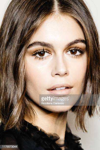 Kaia Gerber poses during backstage for Alberta Ferretti fashion show during the Milan Fashion Week Spring/Summer 2020 on September 18, 2019 in Milan,...