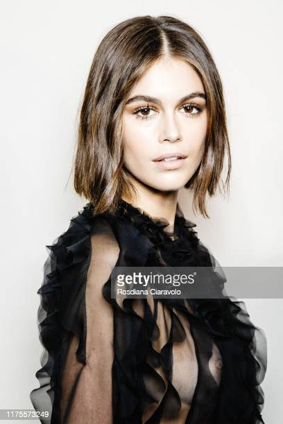 Kaia Gerber poses during backstage for Alberta Ferretti fashion show during the Milan Fashion Week Spring/Summer 2020 on September 18, 2019 in Milan,...